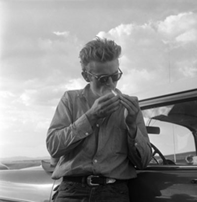 Smoking a cigarette james dean style icon