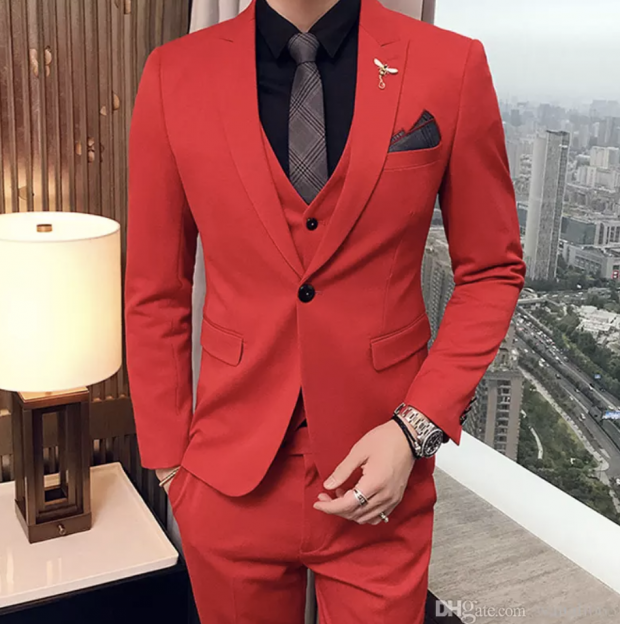 red suit with a mens black dress shirt