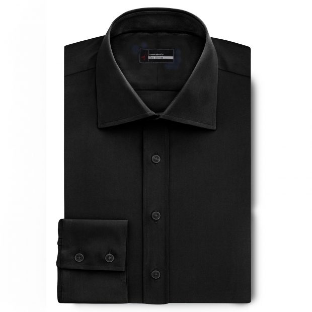 mens black dress shirt with English Spread Collar