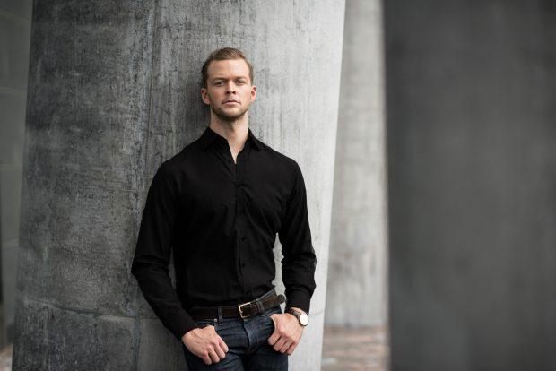 mens black dress shirt with dark denim