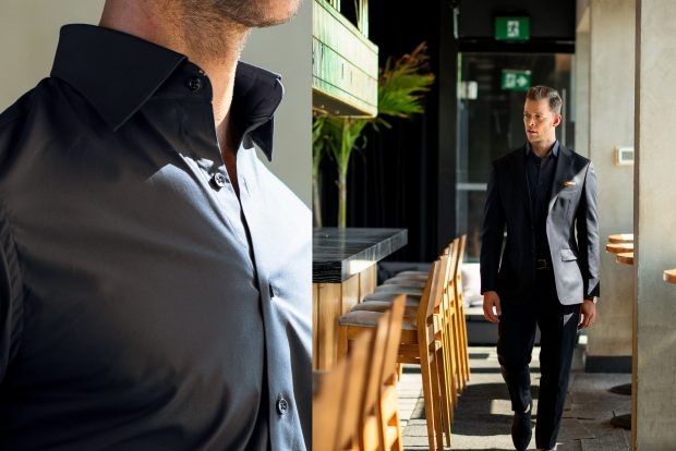 mens black dress shirt with Italian Spread Collar