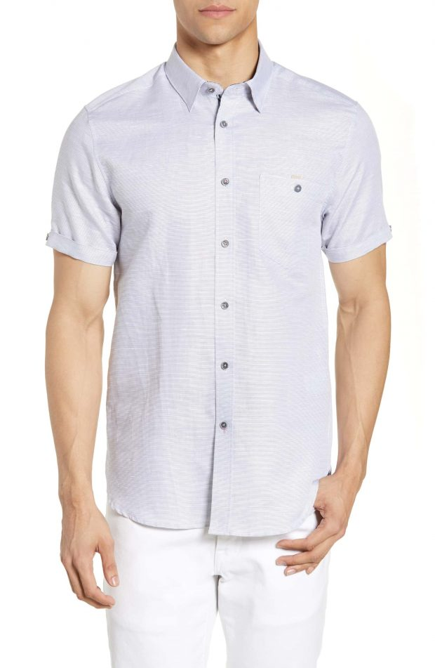 mens short sleeve dress shirt by ted baker