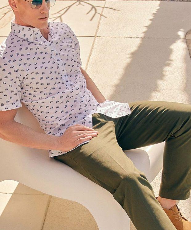 mens short sleeve dress shirt length