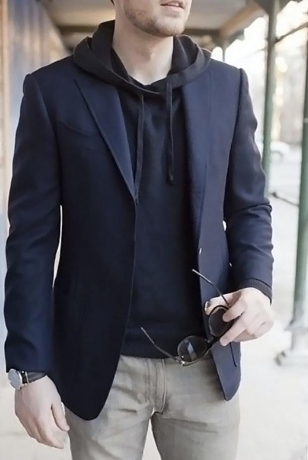 navy hoodie with blazer