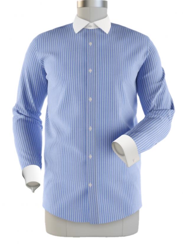 blue pinstripe contrast collar shirt