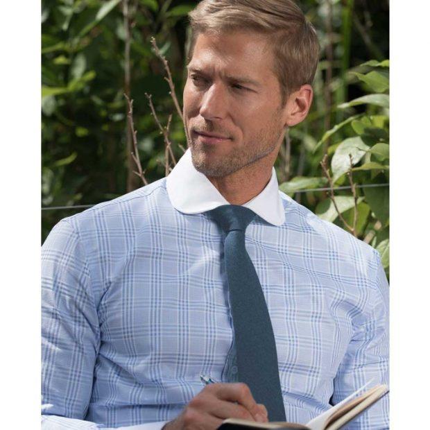 blue check contrast collar shirt