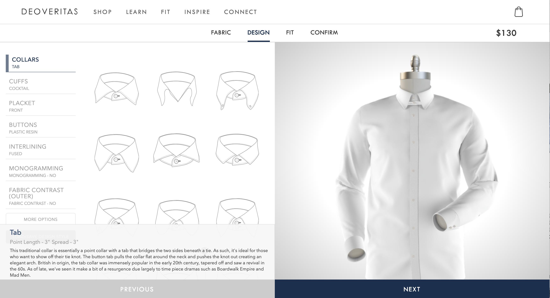 TAB COLLAR DRESS SHIRT BY DEOVERITAS.COM