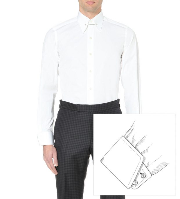 French placket with Bond inspired cocktail cuffs for a Spectre Shirt