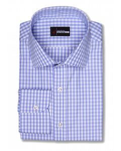 Carolina Blue Gingham 120s Dress Shirt