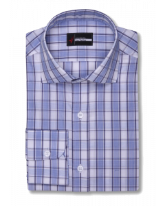 Bruton Meander - Blue and Navy Plaid Check Dress Shirt