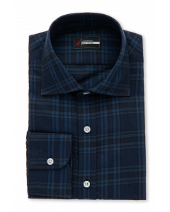 Exeter - Navy Plaid Flannel Dress Shirt