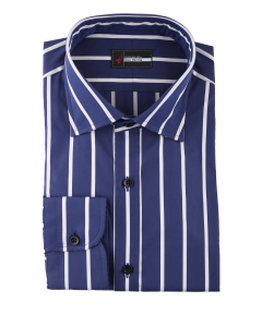 Sylvia - Navy Wide Pinstripe Performance Stretch Dress Shirt