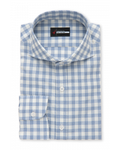 Melrose - Blue Gingham Flannel Dress Shirt