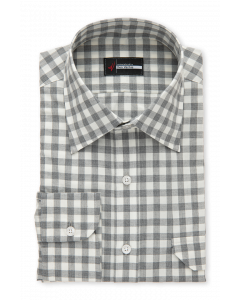 Melrose - Smoke Grey Gingham Flannel Dress Shirt