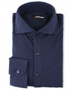 Navy Pique Polo Knit Dress Shirt