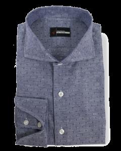 Linosa - Dark Blue Linen / Cotton Print Dress Shirt