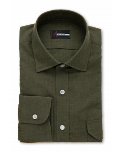 Exeter - Olive Green Flannel Dress Shirt