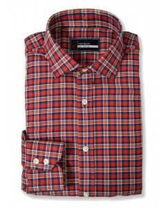 Edmund - Red Flannel Melange Grid Dress Shirt