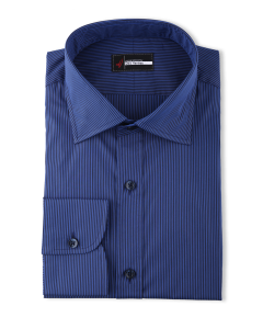 Sylvia - Blue & Navy Performance Stretch Stripe Dress Shirt