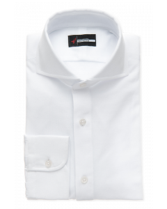 White Pique Polo Knit Dress Shirt