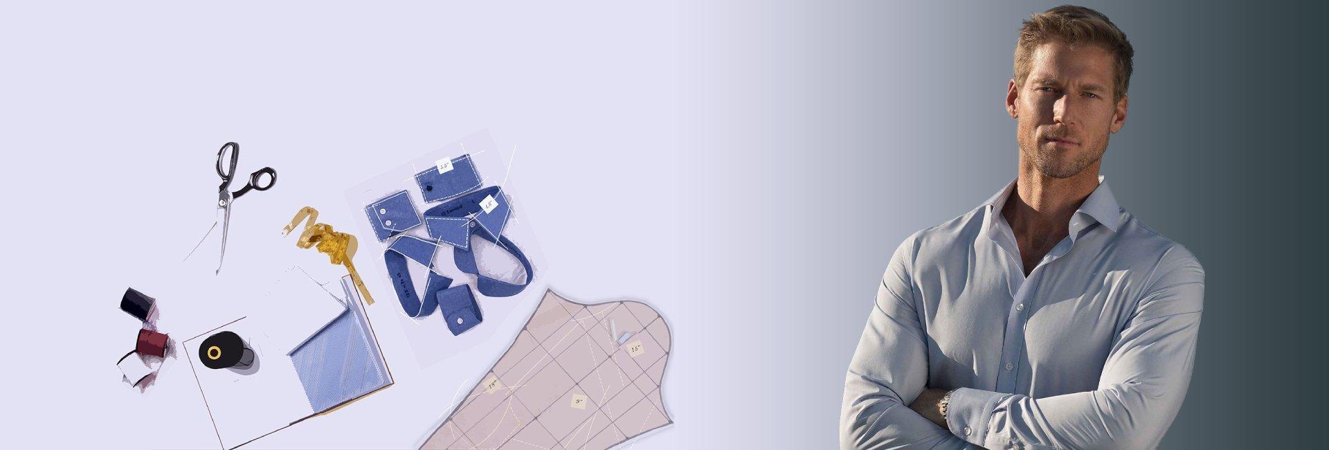 Custom Dress Shirts with tailoring tools